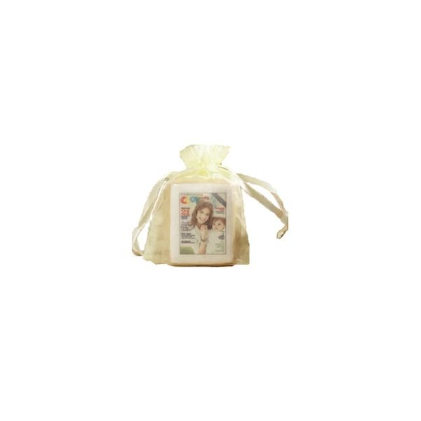 Rect. Shortbread Cookie with Icing in Cello Bag with bow - Rect. Shortbread Cookie with Icing in Cello Bag with bow