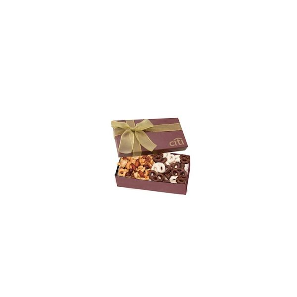 The Executive Chocolate Covered Pretzel & Mixed Nut Box - Burgundy - The Executive Chocolate Covered Pretzel & Mixed Nut Box - Burgundy
