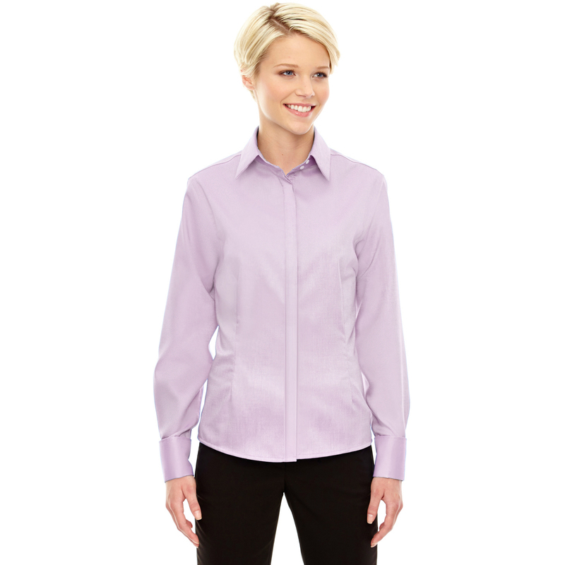 Ladies' Refine Wrinkle-Free Two-Ply 80's Cotton Royal Oxford Dobby Taped Shirt
