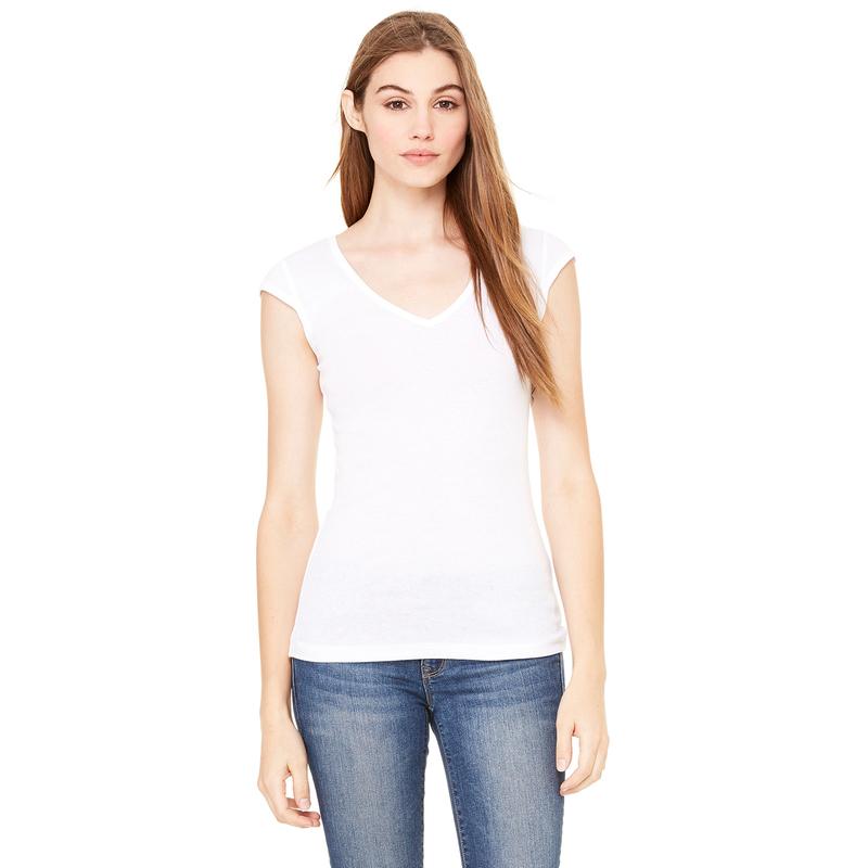 Ladies' Sheer Mini Rib Cap-Sleeve Deep V-Neck T-Shirt