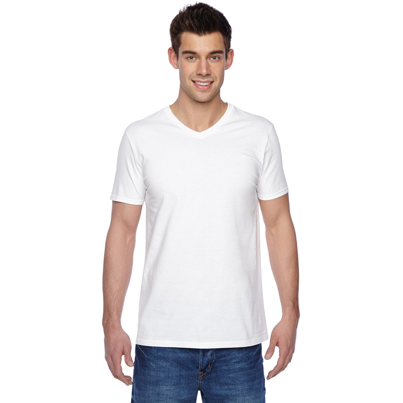 4.7 oz., 100% Sofspun? Cotton Jersey V-Neck T-Shirt