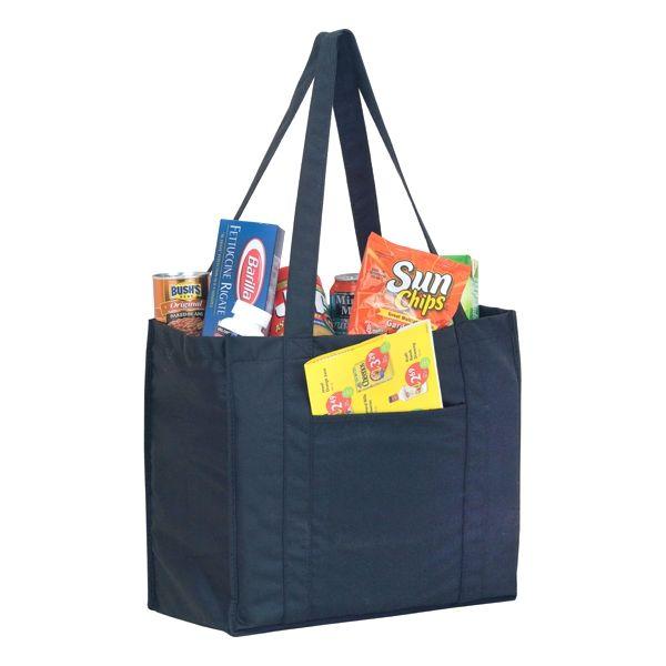"P.E.T. Grocery Bag - 20"" HANDLE & FRONT POCKET BLACK"