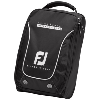 """Foot-Joy Shoe Bag - 16"""" x 10 1/2"""" x 5"""", durable nylon shoe bag is ultra tough, has a large zippered main compartment, air vents and an easy top carry handle. Available in black only."""