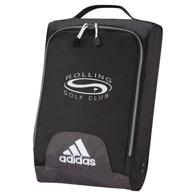 """adidas UNIVERSITY Shoe Bag - 16"""" x 10 1/2"""" x 4"""", 600 dobby hex weave nylon shoe bag with side ventilation. Imprinted on side or top of bags. Available in black only. 1 Color Imprint only."""