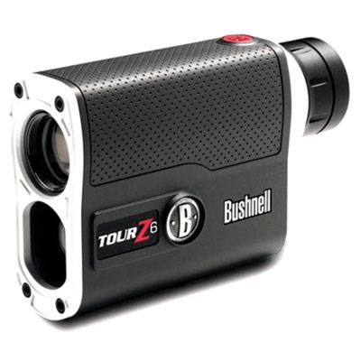 Bushnell Tour Z6 Rangefinder - The new Tour Z6 Bushnell Rangefinder with PinSeeker technology has 6x magnification, 5-1300 yard ranging performanace and vivid display technology for all lighting conditions. 3 Volt battery and case included.