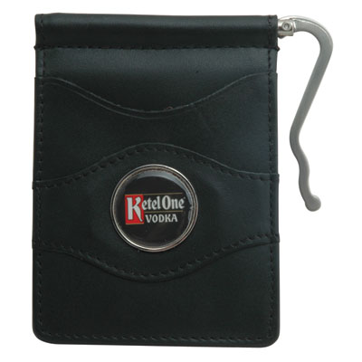 Currency Organizer Wallet - Black top-grain leather exterior and turned edge construction.