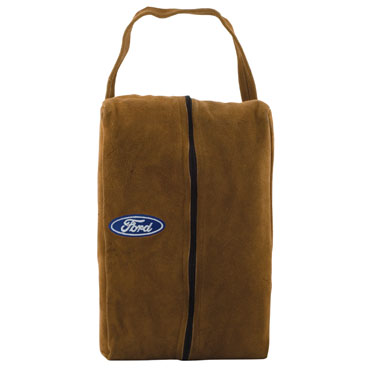 """Suede Shoe Bag - 15"""" x 3"""" x 8"""" synthetic suede shoe bag, fleece lined with inside pocket. Embroidered up to 8000 stitches. (S)0.69 per 1000 additional stitches."""