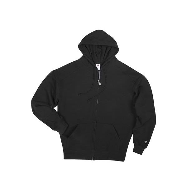 1290 Badger Adult Full Zip Hood  - 1290-Black