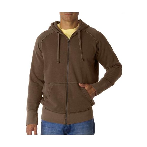 1564 Chouinard Adult Heavyweight Garment-Dyed Frayed Full-Zip Blended Hooded Sweatshirt  - 1564-Brown DirDye