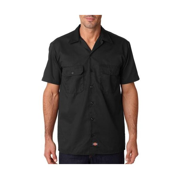 1574 Dickies Adult Short-Sleeve Blend Work Shirt  - 1574-Black