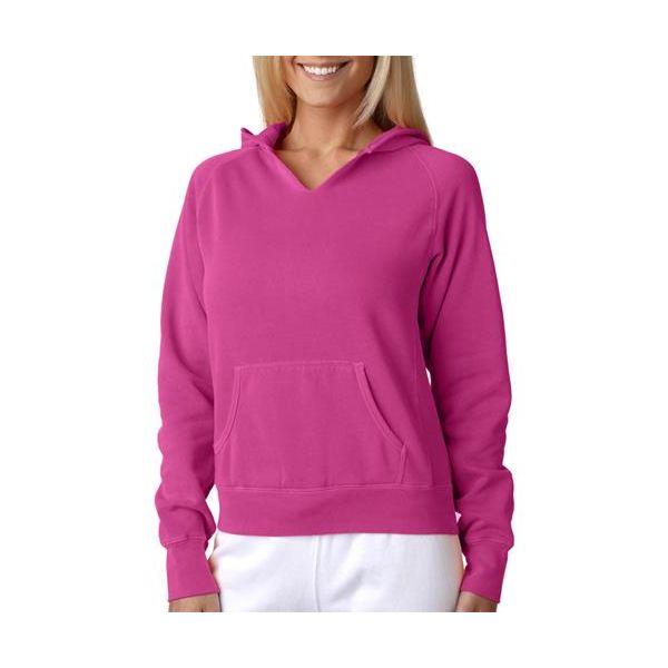 1595 Chouinard Ladies' Hooded Sweatshirt  - 1595-Raspberry DirDye