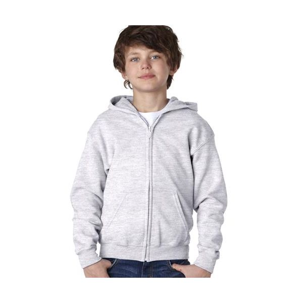 18600B Gildan Youth 50/50 Heavy BlendTM Full-Zip Hooded Sweatshirt  - 18600B-Ash (50/50)