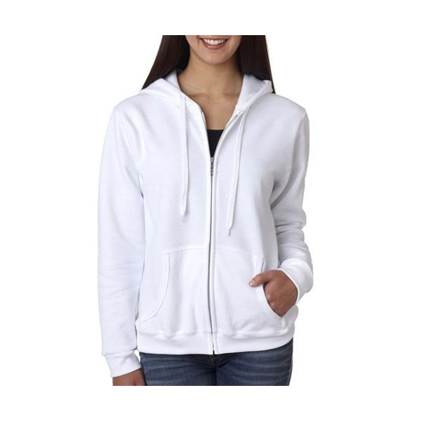 18600FL Gildan Missy Fit 50/50 Heavy BlendTM Full Zip Hooded Sweatshirt  - 18600FL-White