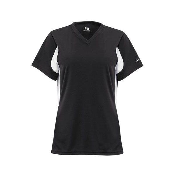 2170 Badger Rally Girls/Youth Athletic V-neck Jersey  - 2170-Black/ White