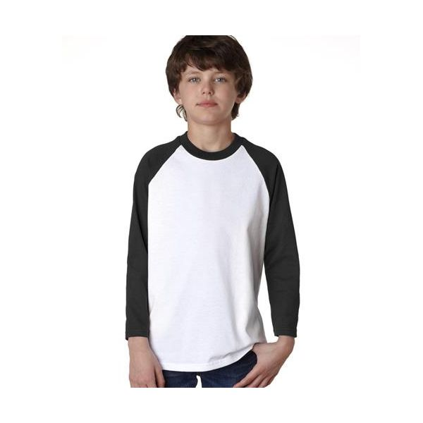 2184B Anvil Youth Cotton Baseball Tee  - 2184B-White/ Black