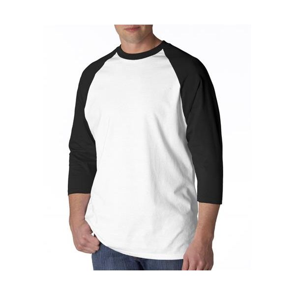 2184 Anvil Adult Cotton Baseball Tee  - 2184-White/ Black