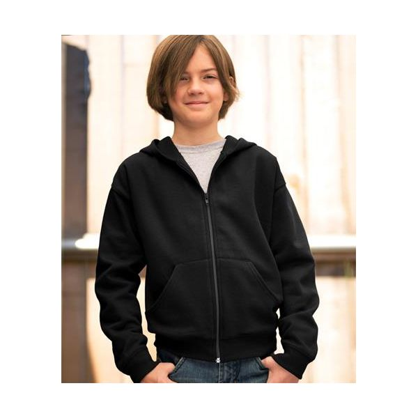 2246 LAT Youth Fleece Hooded Zip-Front Sweatshirt with Pockets  - 2246-Black