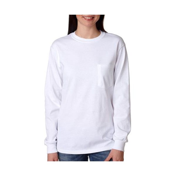 2410 Gildan Adult Ultra CottonTM Long-Sleeve T-Shirt with Pocket  - 2410-White