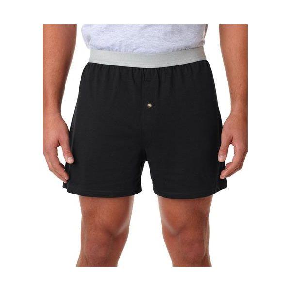 2420 Robinson Adult Cotton Jersey Knit Boxer Shorts  - 2420-Black