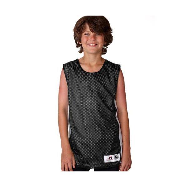 2559 Badger Youth Mesh/Dazzle Reversible Poly Tank  - 2559-Black/ White