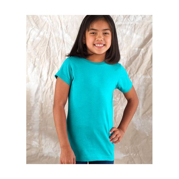 2616 LA T Girls' Fine Jersey Longer Length Cotton T-Shirt  - 2616-Aqua