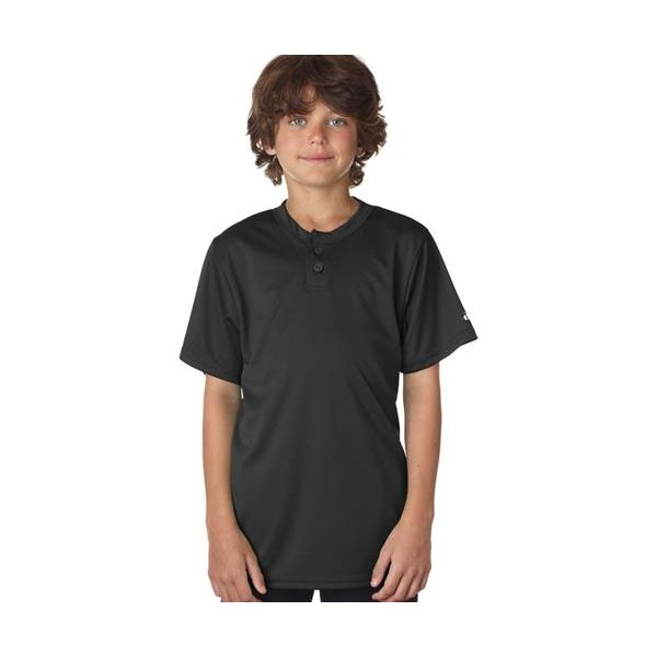2930 Badger Youth B-Dry Core Henley Performance Tee  - 2930-Black