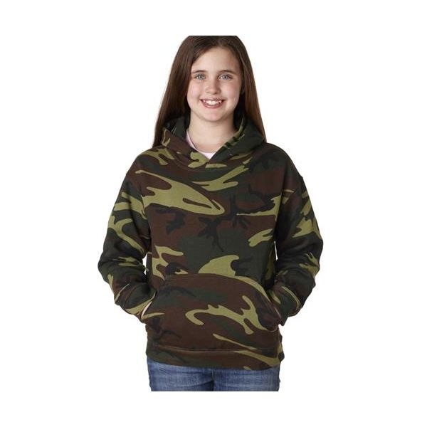 2969 Code V Youth Camouflage Pullover Hooded Blended Print Fleece Sweatshirt with Pouch Pocket  - 2969-Green Woodland