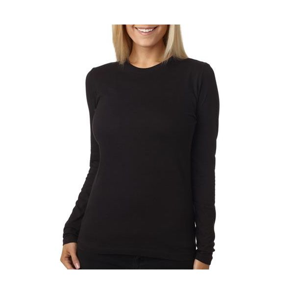 3301L Next Level Ladies' Long-Sleeve Cotton Crew  - 3301L-Black
