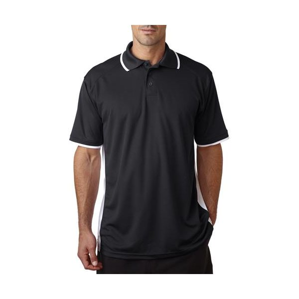 3342 Badger Adult B-Dry Colorblock Polo  - 3342-Black/ White