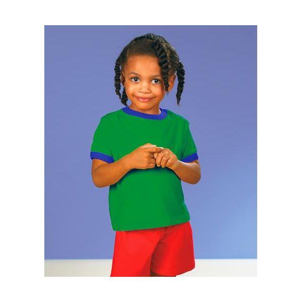 3380 Rabbit Skins Toddler Ringer Tee  - 3380-Kelly/ Royal