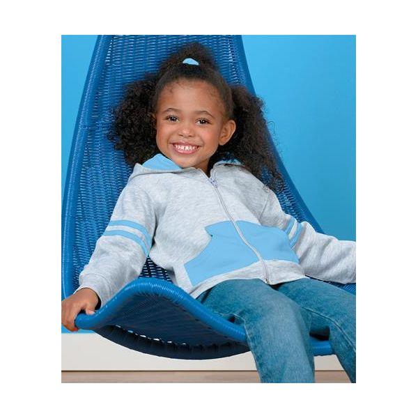 3396 Rabbit Skins Toddler Stripe Hoodie  - 3396-Heather/ Light Blue