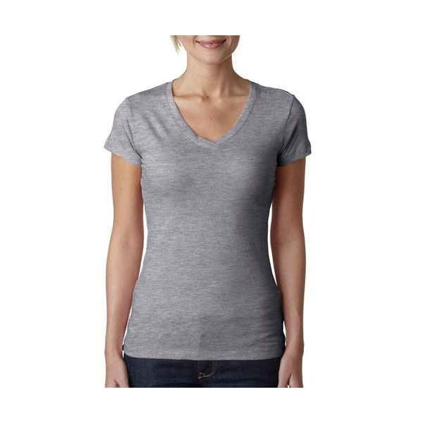 3400L Next Level The Ladies' Cotton Sporty V  - 3400L-Heather Grey (90/10)