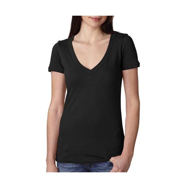 3540 Next Level The Ladies' Cotton Deep V  - 3540-Black
