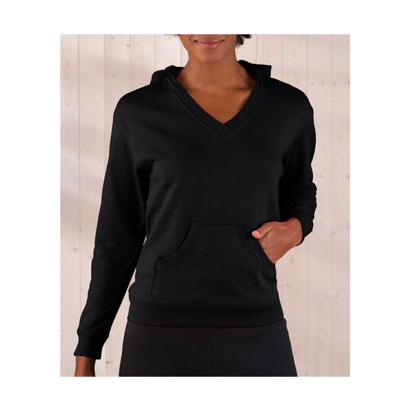 3654 LAT Ladies' French Terry Hooded Crossover V-Neck Pullover  - 3654-Black