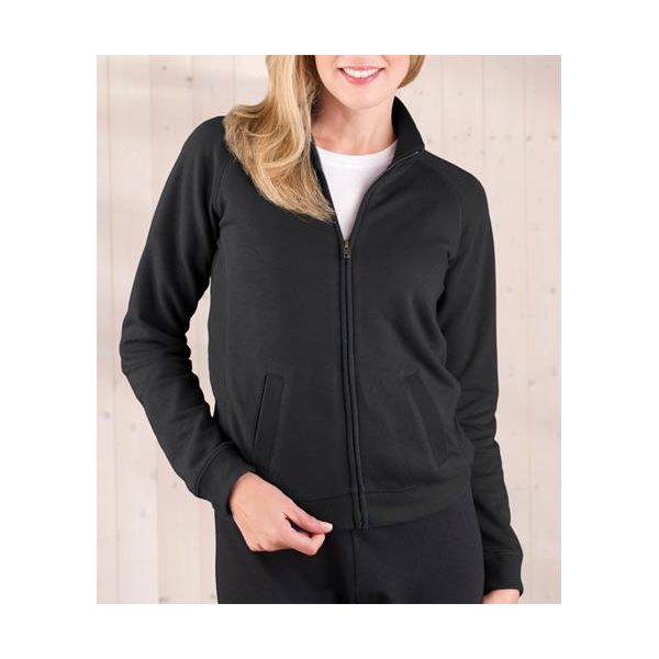 3655 LAT Ladies' French Terry Raglan Cadet Jacket  - 3655-Black