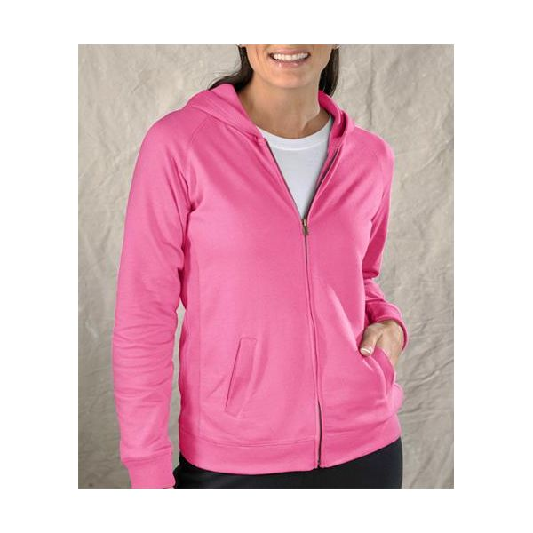 3659 LAT Ladies' French Terry Hooded Raglan Full-Zip Jacket  - 3659-Raspberry Sorbet