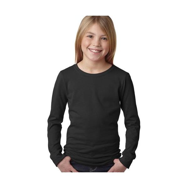 3711 Next Level Girl's Princess Long-Sleeve Cotton Tee  - 3711-Black