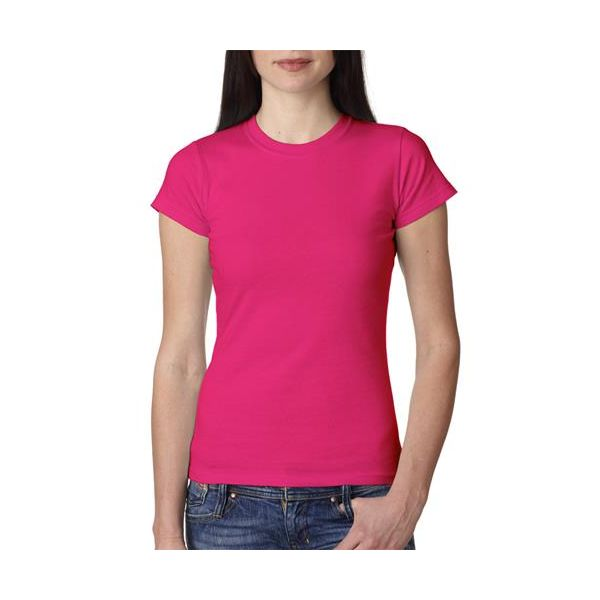 379 Anvil Ladies' Semi-Sheer Crewneck Cotton Tee  - 379-Hot Pink