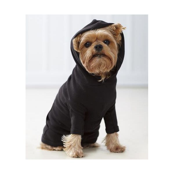 3933 Doggie Skins Baby-Rib Hooded Tee with Pouch Pocket  - 3933-Black