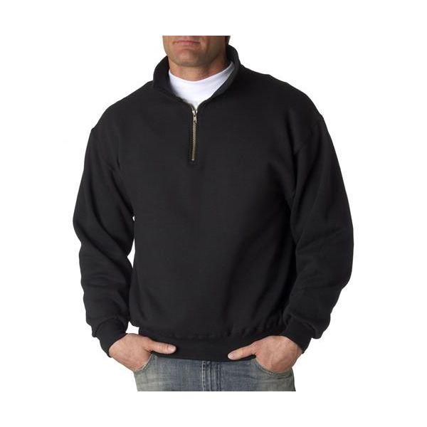 4528 Jerzees Adult Super Sweats® 1/4-Zip Cadet Collar Sweatshirt  - 4528-Black