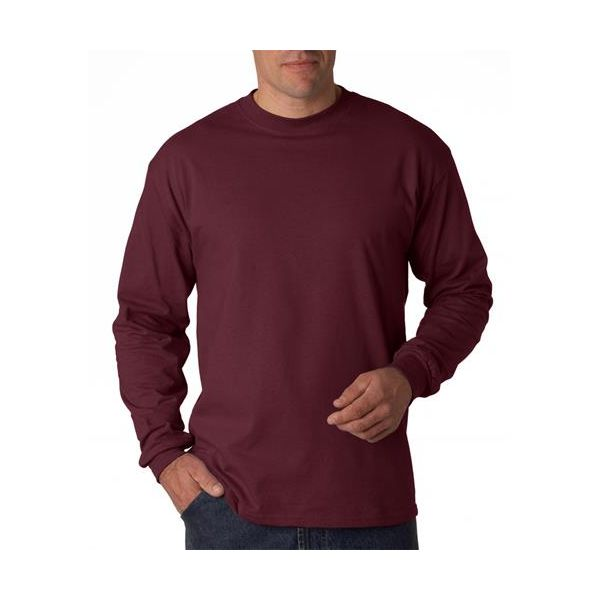 5186 Hanes Adult Long-Sleeve Beefy-T® Cotton Tee  - 5186-Maroon