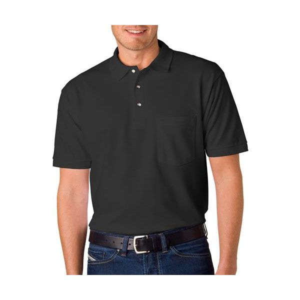 6003 Anvil Adult Ring-Spun Pique Cotton Polo with Pocket  - 6003-Black