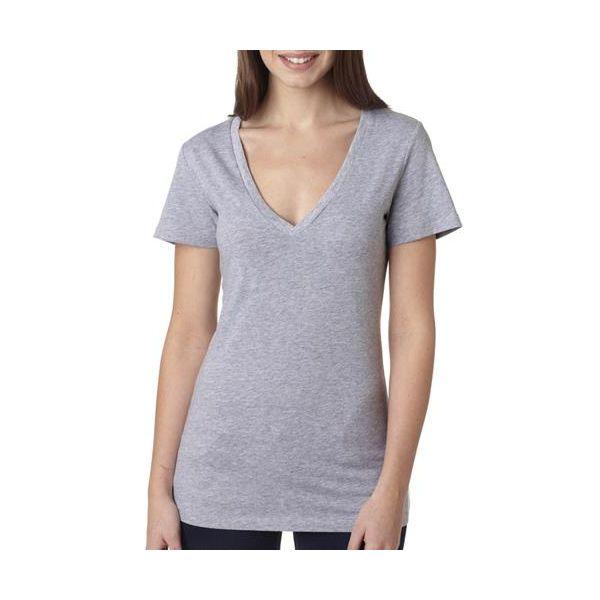 6035 Bella+Canvas Ladies' Cotton Jersey Deep V-neck Tee  - 6035-Athletic Heather (90/10)