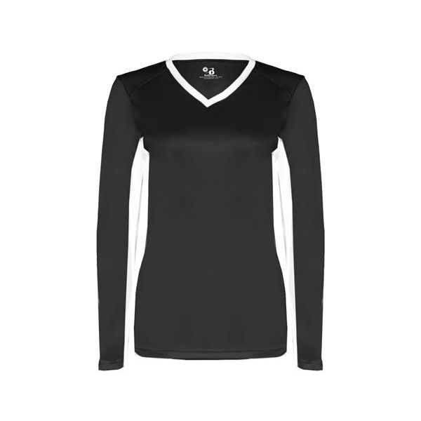 6164 Badger Ladies' Core Performance Dig Long-Sleeve Tee with Contrast Sleeve Panels  - 6164-Black/ White