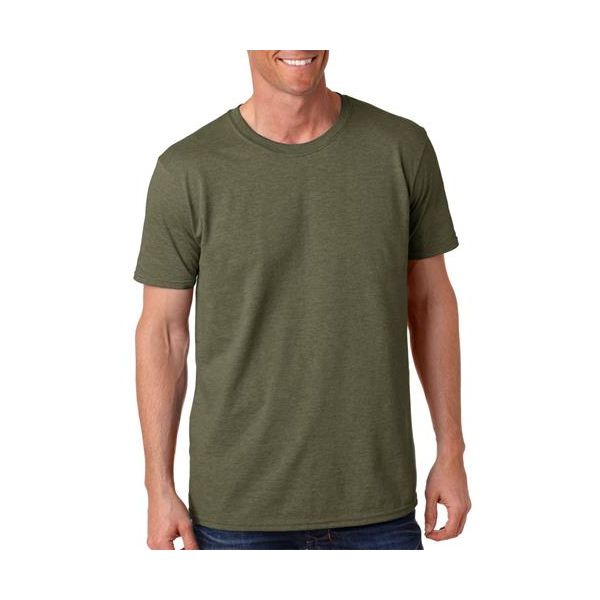 64000 Gildan Adult Softstyle Cotton T-Shirt  - 64000-Heather Military Green (50/50)