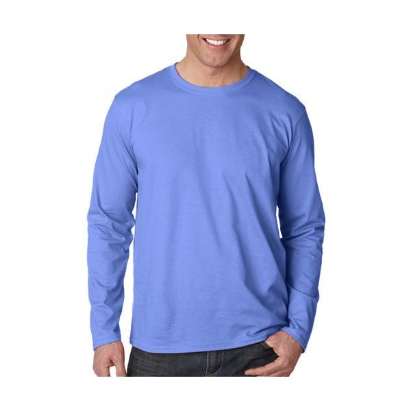 64400 Gildan Adult Softstyle Long-Sleeve Cotton T-Shirt  - 64400-Ciel Blue