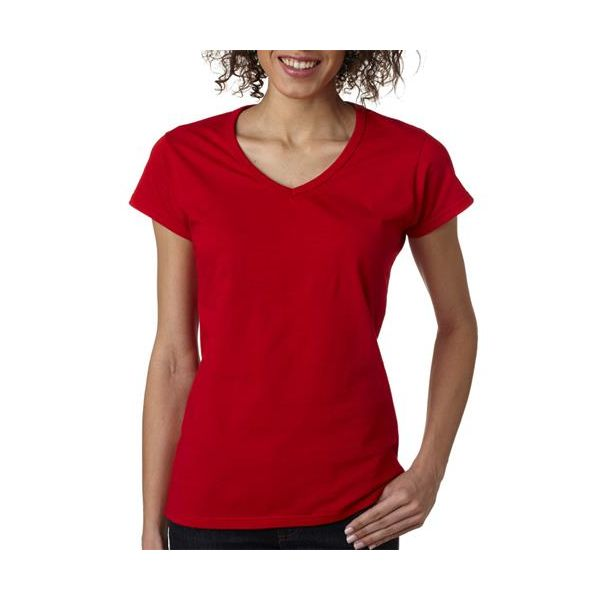 64V00L Gildan Junior Fit Softstyle Cotton V-Neck T-Shirt  - 64V00L-Cherry Red
