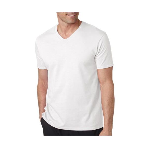 64V00 Gildan Adult Softstyle Cotton V-Neck T-Shirt  - 64V00-White