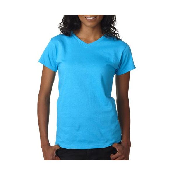 652 Anvil Ladies' V-Neck Cotton Tee  - 652-Caribbean Blue