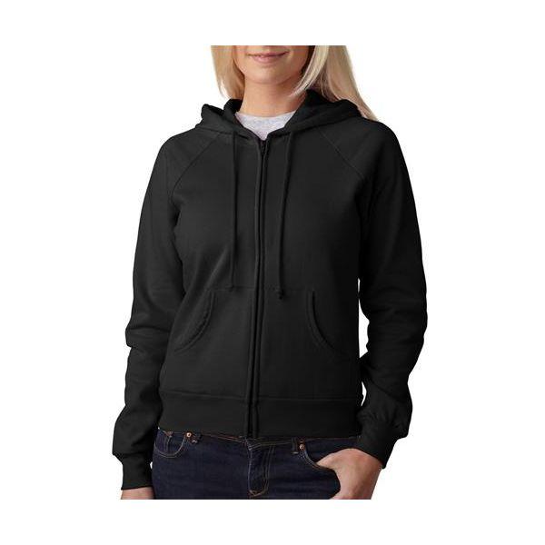 7007 Bella+Canvas Ladies' Cotton Fleece Raglan Hooded Sweatshirt  - 7007-Black
